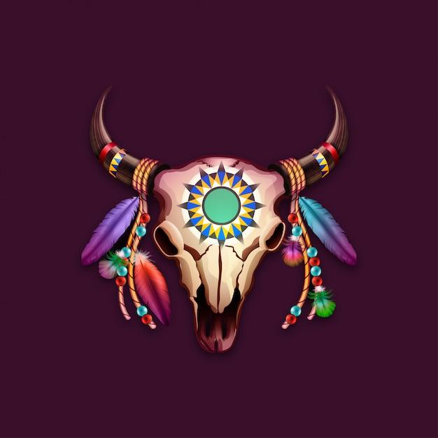 Vache Crâne Tribal Avec Des Plumes Sur Les Cornes Vecteur Premium