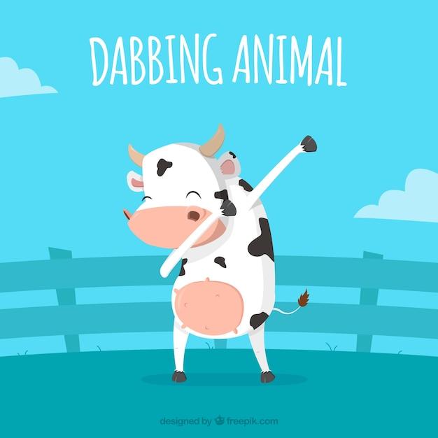 Vache, faire, dabbing, mouvement Vecteur gratuit