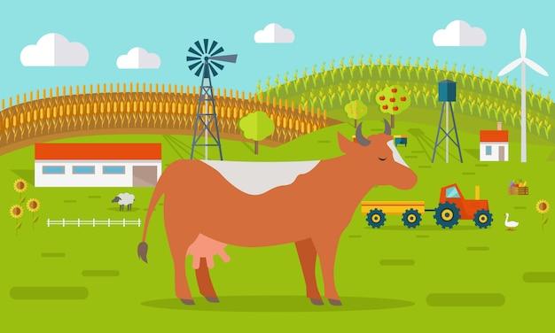 Vache à la ferme Vecteur Premium