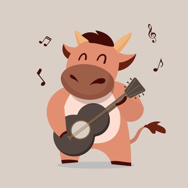 Vache Jouant De La Guitare. Desgn De Caractère Du Zodiaque Boeuf Nouvel An Chinois. Dessin Animé Animal Mignon. Vecteur Premium