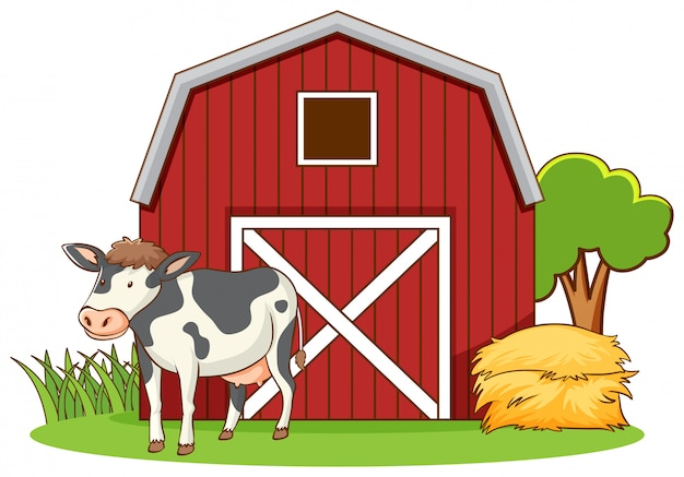 Vache Mignonne Debout Sur La Ferme Vecteur gratuit