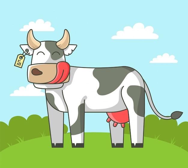 Vache mignonne se dresse sur le terrain dans le village. illustration Vecteur Premium