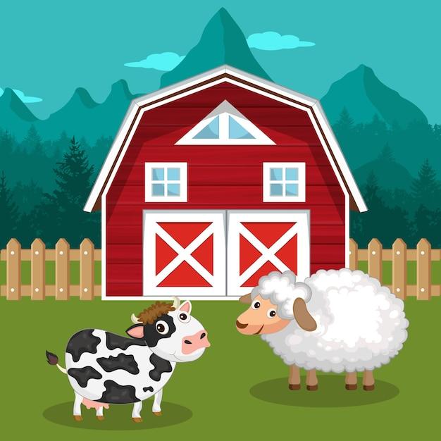 Vache et mouton dans la basse-cour Vecteur Premium