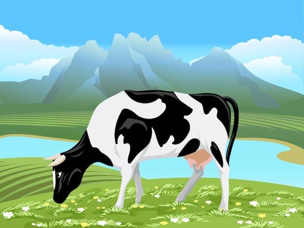 Vache Et Paysage De Prairie Rurale. Vache Paissant Sur Champ Vert Avec Des Fleurs Près De La Rivière Vecteur gratuit