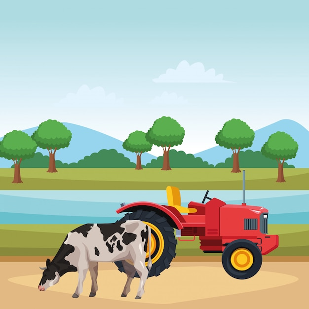 Vache et tracteur Vecteur Premium