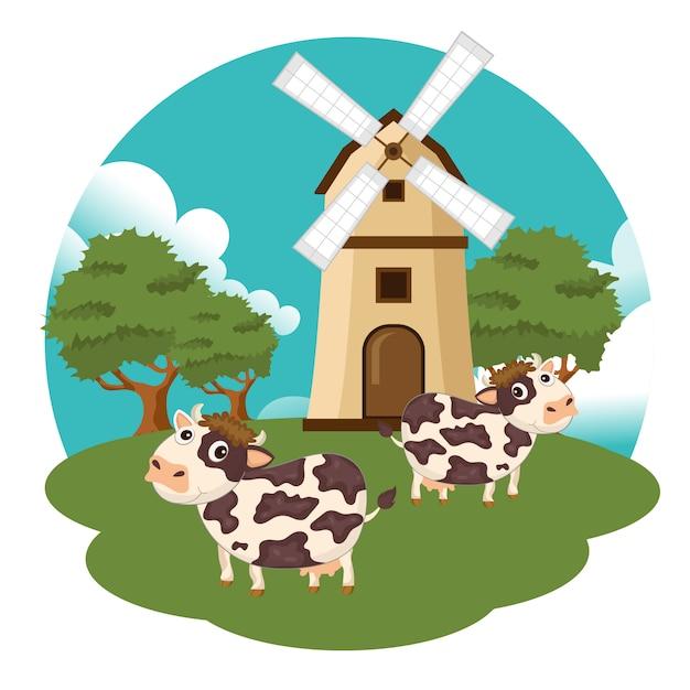 Vaches à la ferme Vecteur Premium