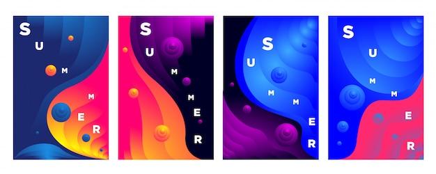 Vague de fluide coloré abstrait pour le fond de l'été Vecteur Premium