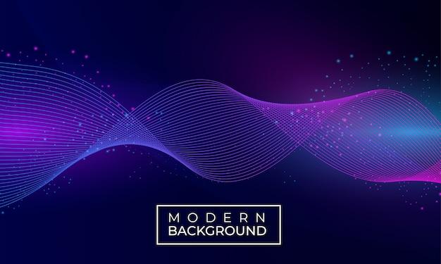 Vague moderne fond abstrait avec des particules Vecteur Premium