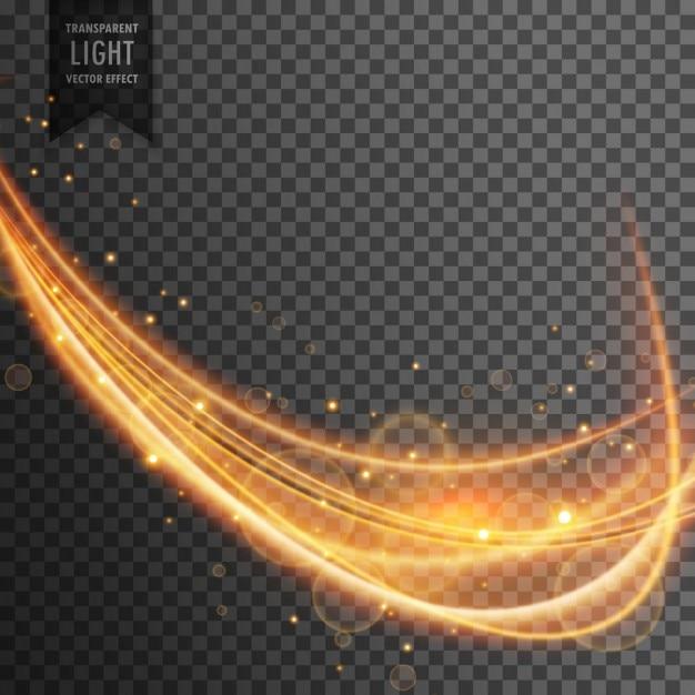 Vague d'or dynamique avec des étincelles sur fond transparent Vecteur gratuit