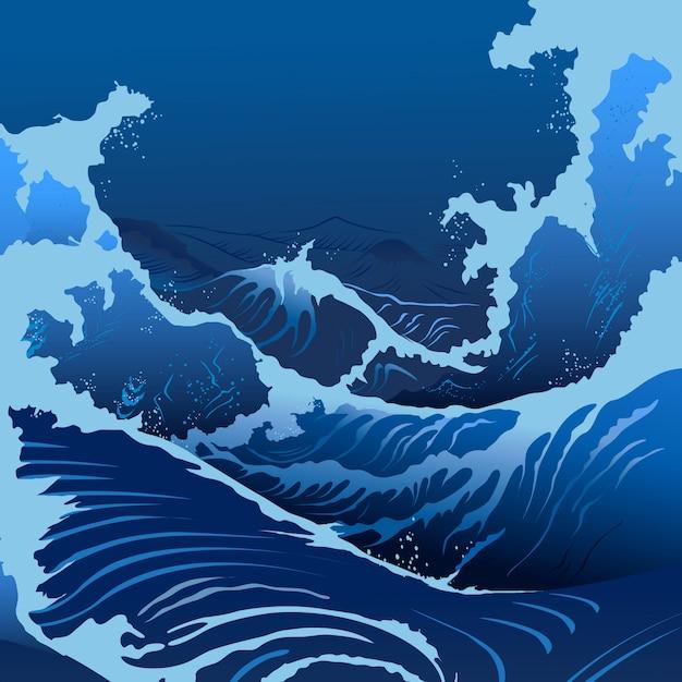 Vagues Bleues Dans Le Style Japonais Vecteur Premium
