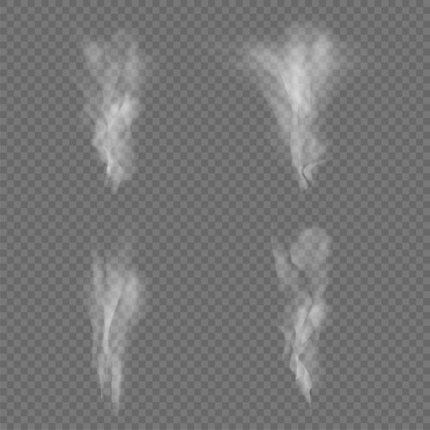 Vagues de fumée blanche isolées sur transparent Vecteur Premium