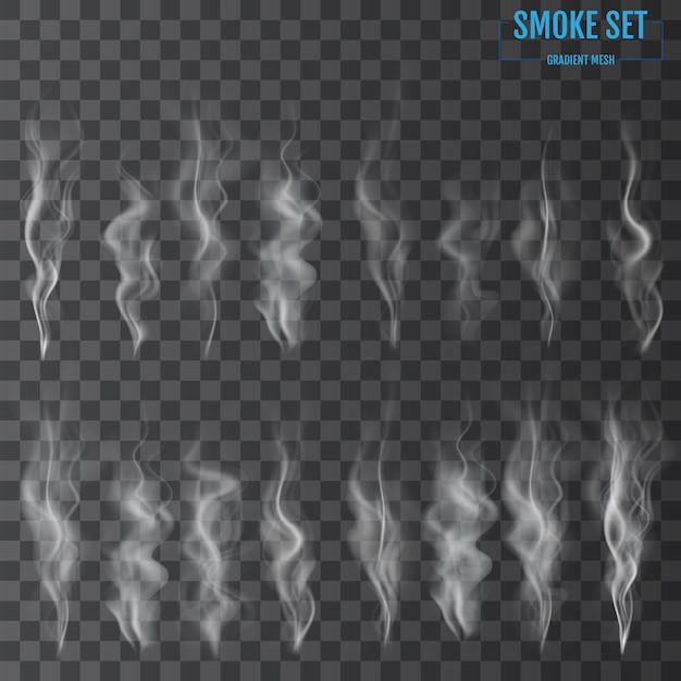 Vagues de fumée de cigarette blanche Vecteur Premium