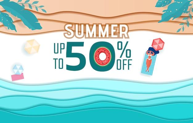Vagues en papier et conception de publicité de vente de plage. Vecteur Premium