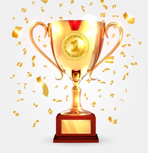 Vainqueur Coupe D'or Avec Médaille. Vecteur Premium