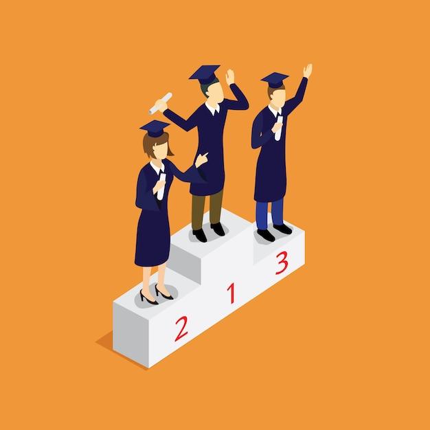 Vainqueur De L'éducation Avec Isométrique Vecteur Premium