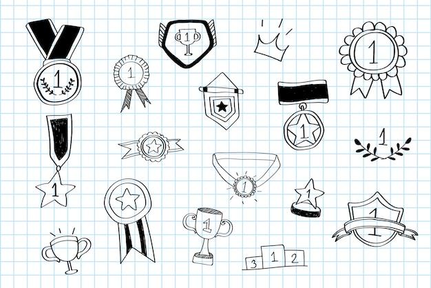 Le vainqueur de la première place doodles vector collection Vecteur gratuit