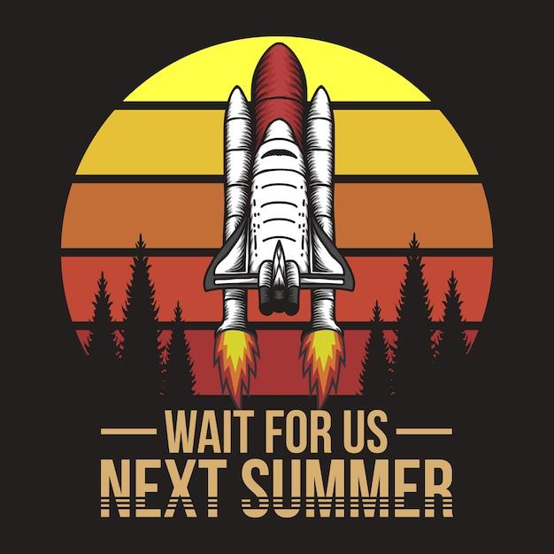 Vaisseau spatial au coucher du soleil Vecteur Premium