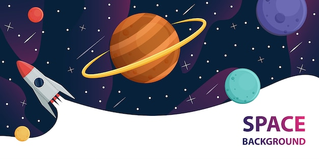 Vaisseau spatial dans la galaxie spatiale avec des planètes Vecteur Premium