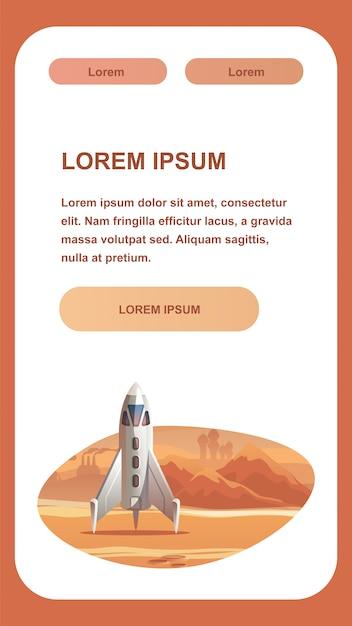 Vaisseau spatial sur la surface de la planète rouge. Vecteur Premium