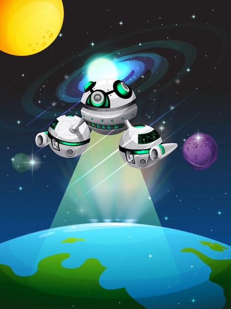 Vaisseau spatial survolant la terre Vecteur gratuit