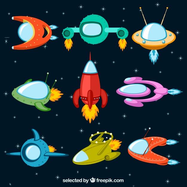 Vaisseaux spatiaux colorés Vecteur gratuit
