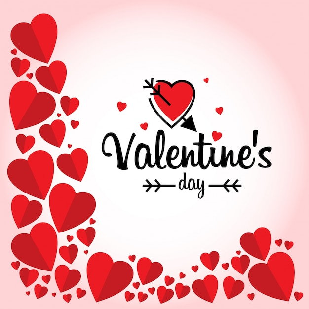Valentin avec cadre de coeurs rouges Vecteur gratuit