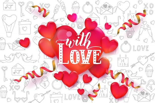 Valentin Fond Avec Des Coeurs Rouges 3d Et Serpentine Sur Motif Vecteur Premium