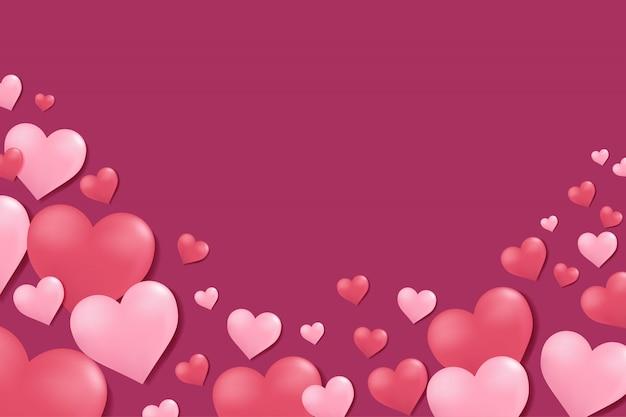 Valentin fond avec des coeurs. Vecteur Premium