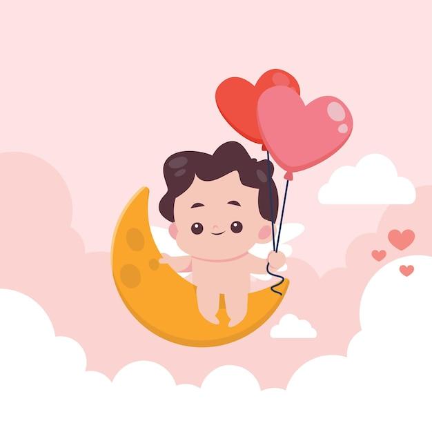 Valentin Plat Avec Illustration Mignonne Vecteur Premium