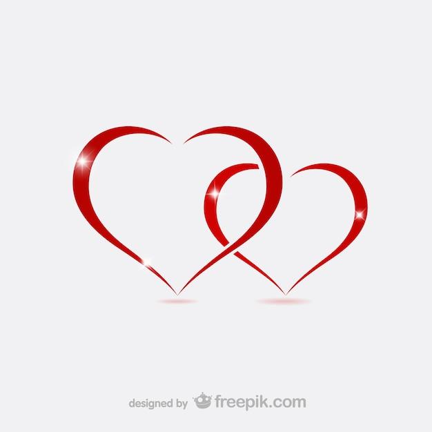 Valentine coeurs contours Vecteur gratuit