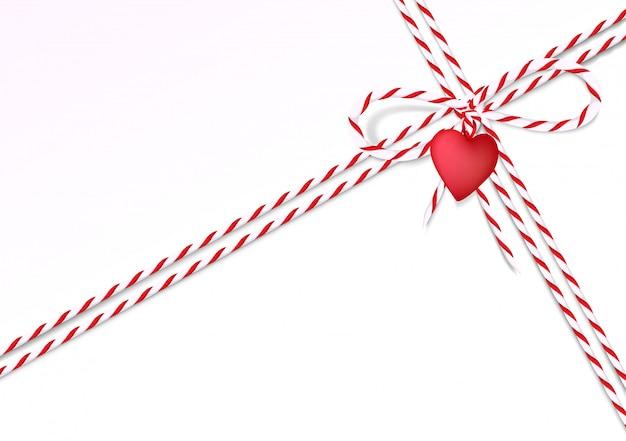 Valentine day background avec corde et coeur Vecteur Premium