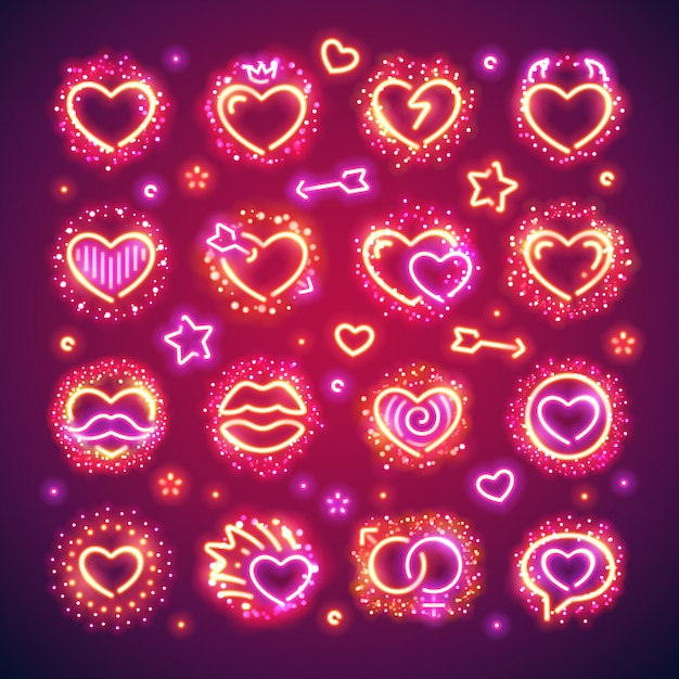 Valentine hearts avec des étincelles Vecteur Premium