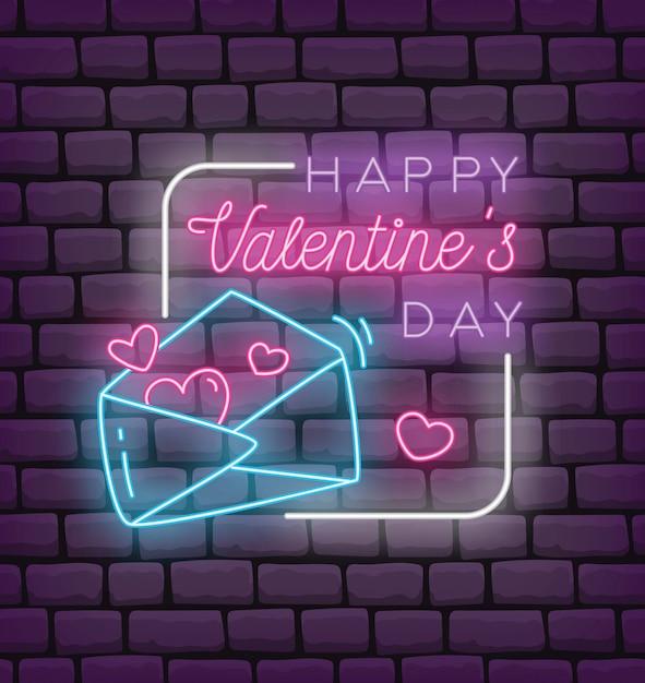 Valentine voeux en illustration vectorielle de néon effet style Vecteur Premium