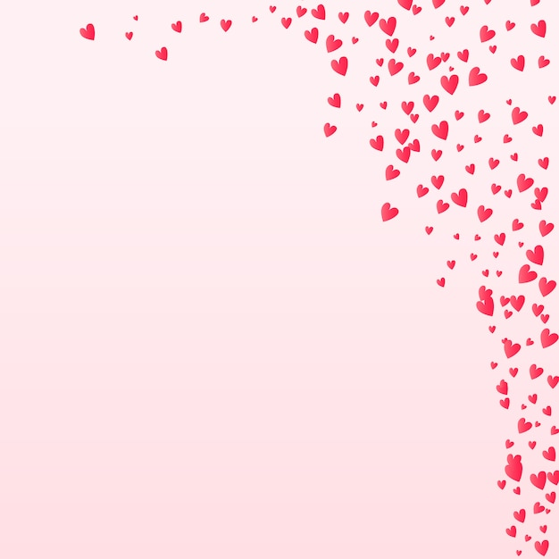Valentines confetti coeurs qui tombent sur le fond Vecteur Premium