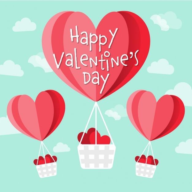 Valentines heureux vecteur de jour en forme de coeur ballons à air chaud dans le ciel Vecteur gratuit