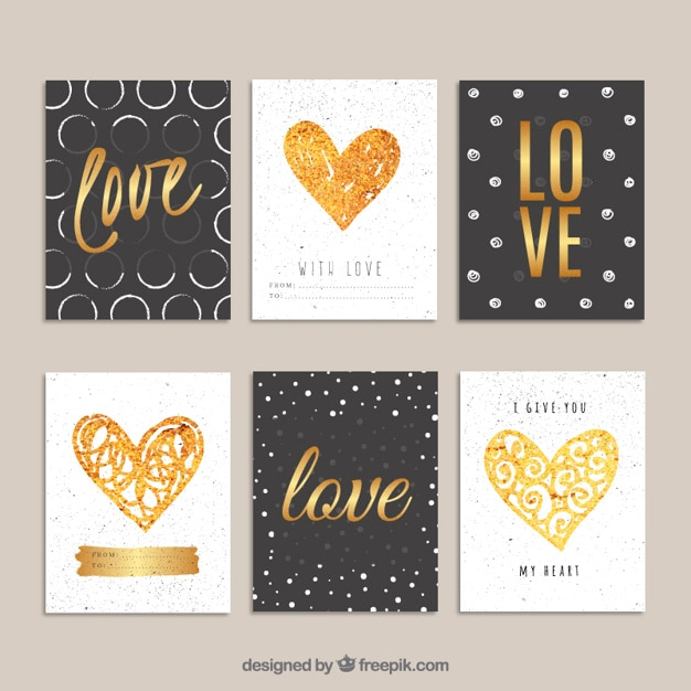 Valentines or cartes de jour Vecteur Premium