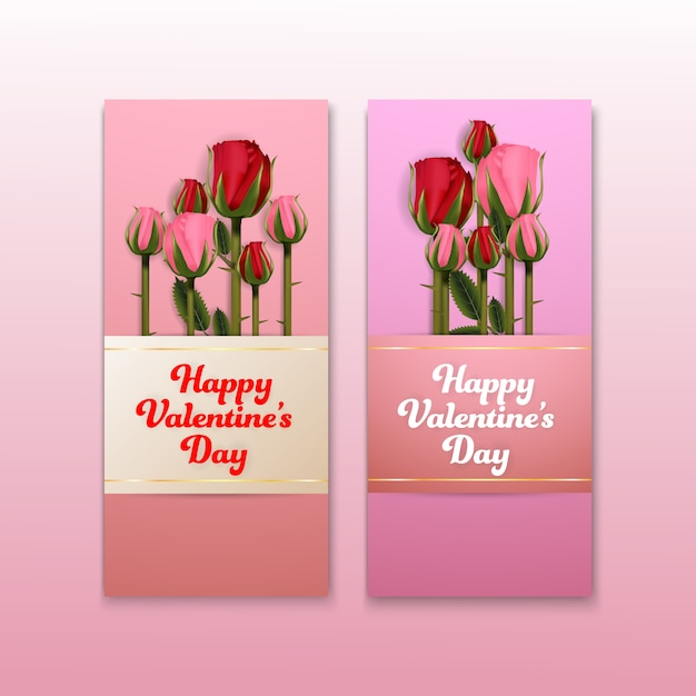 Valentines roses fleurs arrière-plans bannière ensemble Vecteur Premium