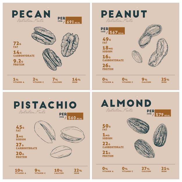 Valeur nutritive de la noix Vecteur Premium