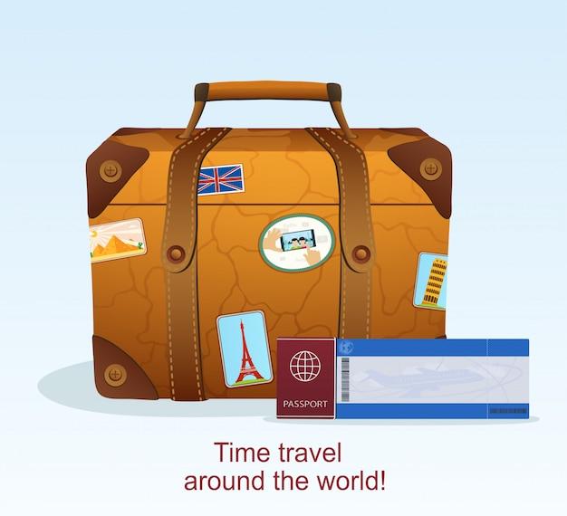 Valise En Cuir Vintage Avec Autocollant De Voyage, Billet Avec Passeport Pour Voyager Vecteur Premium