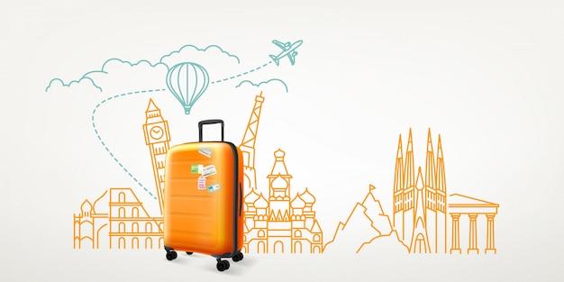 Valise Photoréal Avec Différents éléments De Destination De Voyage. Concept De Vecteur De Voyage Mondial Vecteur Premium