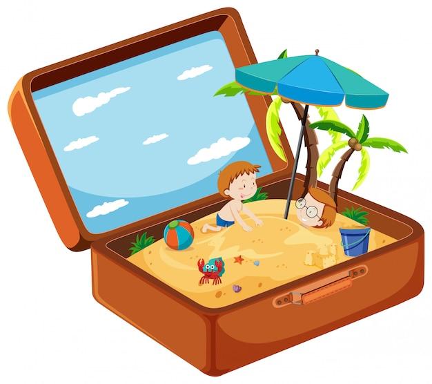 Une valise à la plage d'été Vecteur gratuit