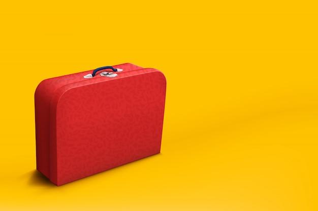 Valise Rouge Sur Jaune Vecteur Premium