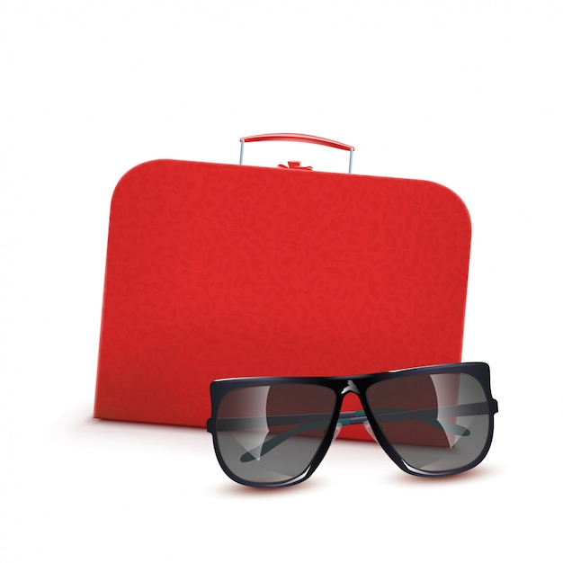 Valise Rouge Avec Lunettes De Soleil Vecteur Premium