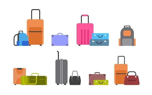 Valises, sacs et sacs à dos Vecteur Premium