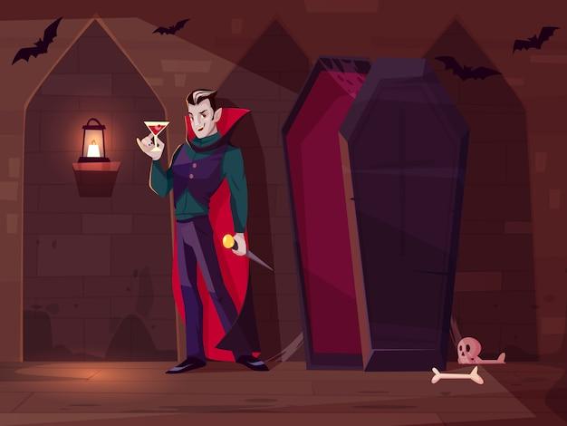 Vampire souriant, comte dracula debout avec un verre de sang près d'un cercueil ouvert dans un cachot sombre Vecteur gratuit
