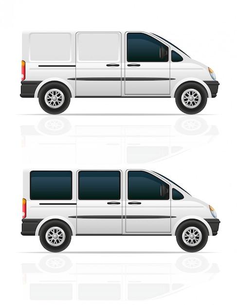 Van pour le transport de fret et passagers vector illustration Vecteur Premium