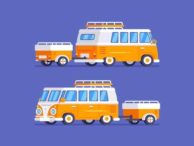 Van rétro classique avec camping-car en illustration de style plat Vecteur Premium