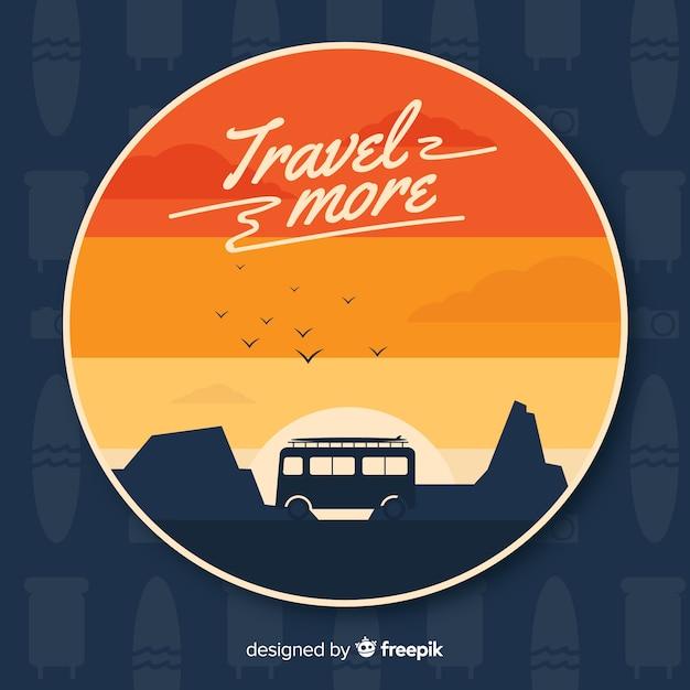 Van à Travers Les Montagnes Au Coucher De Soleil Vecteur gratuit