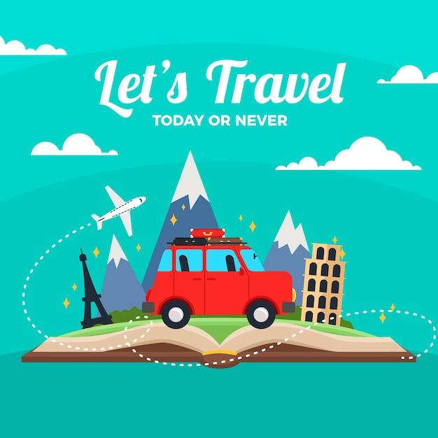 Van Voyageant Sur Un Fond De Livre Vecteur gratuit