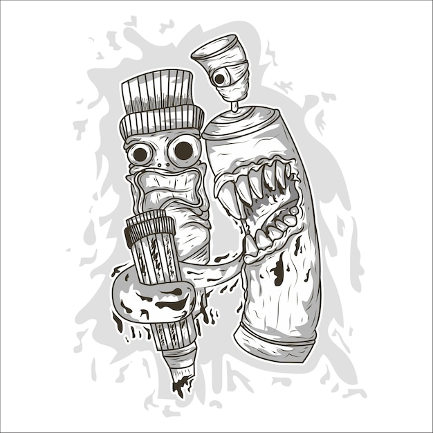 Vaporisateur De Graffiti De Dessin Animé De Vecteur Vecteur Premium